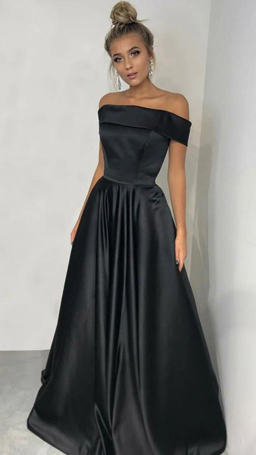 Off Shoulder Sleeves Black Prom Dress - daisystyledress