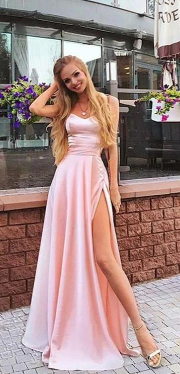 Spaghetti Straps Split Pearl Pink Prom Dress - daisystyledress