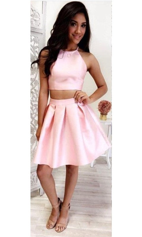 Modest Two Piece Pink Homecoming Dress - daisystyledress