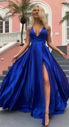 Halter Neckline Slit Royal Blue Prom Dress - daisystyledress