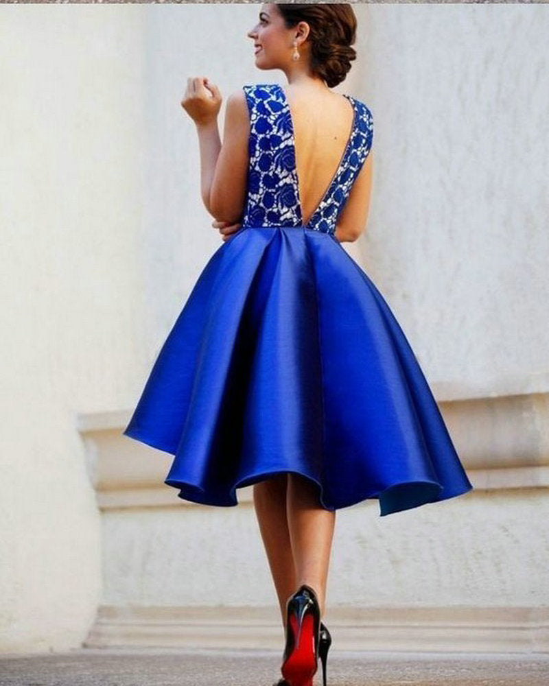 Short V-neckline Royal Blue Homecoming Dress - daisystyledress