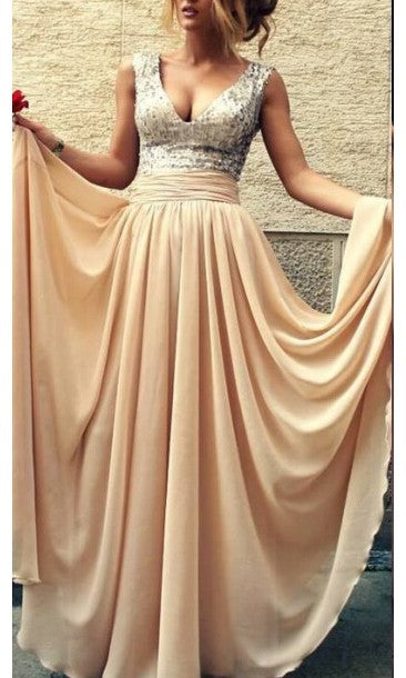 A line V-neck Sequins Champagne Prom Dress - daisystyledress