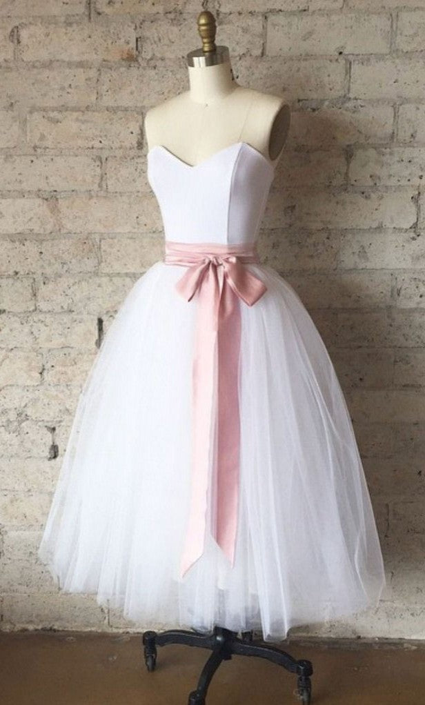 Short Ball Gown White Tulle Vintage Party Dress