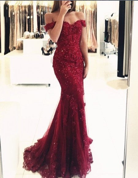 Mermaid Off Shoulder Sleeves Red Lace Evening Dress - daisystyledress