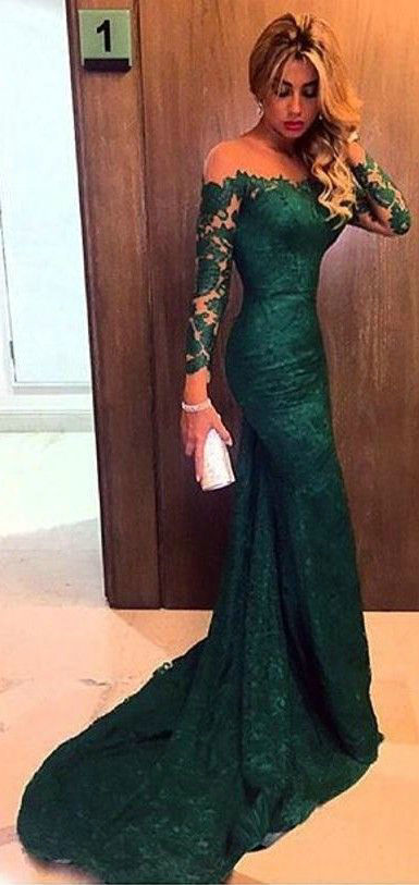 Mermaid Long Sleeve Dark Green Lace Evening Dress - daisystyledress