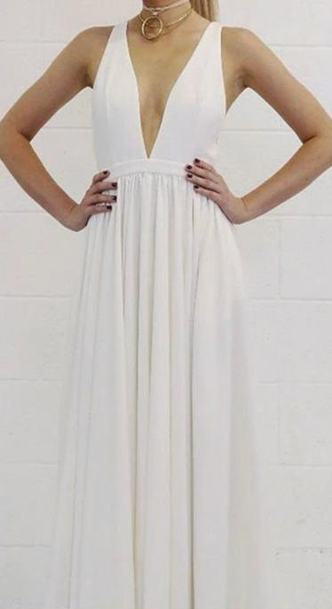 A line V-neck White Prom Dress - daisystyledress