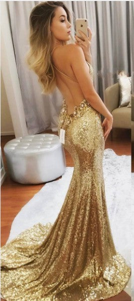 Sexy Mermaid Open Back Gold Sequins Evening Dress - daisystyledress