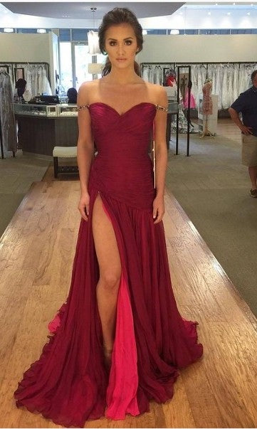 Sexy Beaded Off Shoulder Sleeves Slit Burgundy Prom Dress - daisystyledress