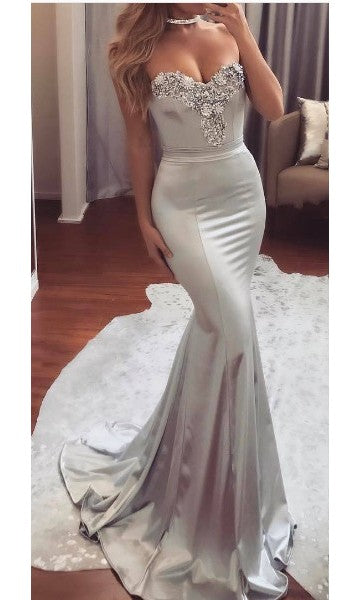 Mermaid Silver Evening Party Dress - daisystyledress