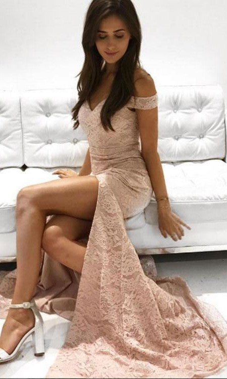 Sexy Slit Mermaid Off Shoulder Sleeve Blush Lace Prom Dress - daisystyledress