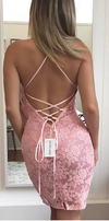 Sexy Short Open Back Pink Lace Homecoming Dress