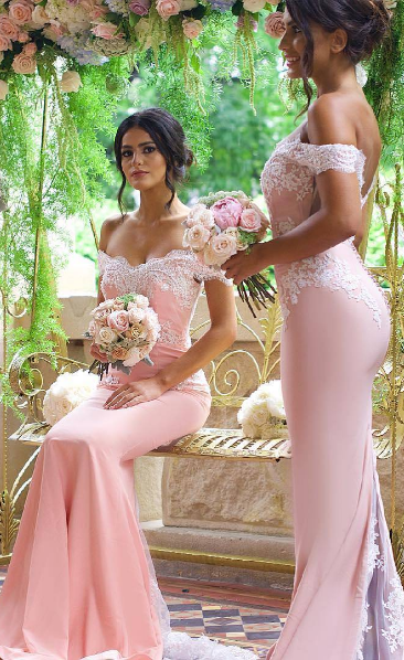 Mermaid Off Shoulder Sleeve Pink Bridesmaid Dress - daisystyledress