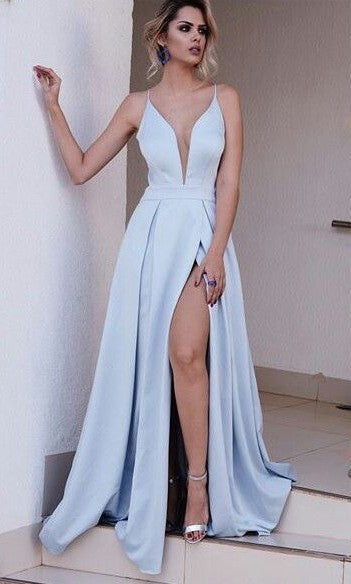 A line Sexy V-neck Blue Slit Prom Dress - daisystyledress