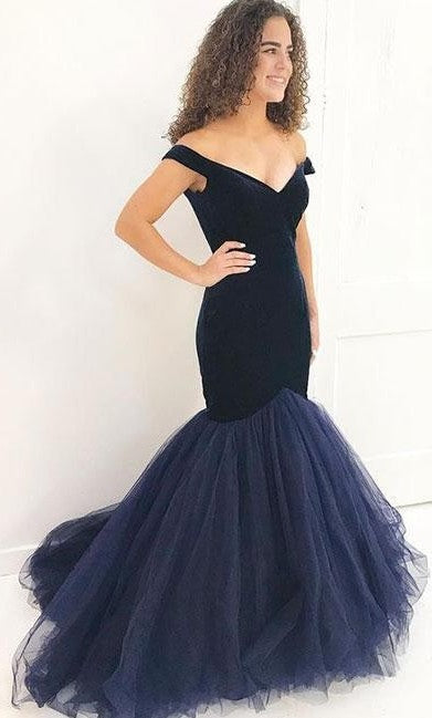 Mermaid Off Shoulder Sleeves Navy Blue Evening Dress - daisystyledress