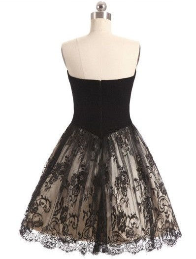 Short Little Black Lace Homecoming Party Dress - daisystyledress