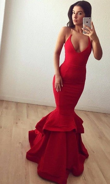 Sexy Trumpet Red Evening Party Dress - daisystyledress
