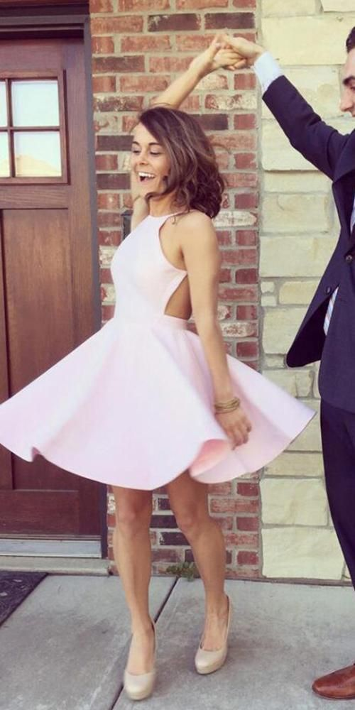 Sexy Open Back Pink Homecoming Dress - daisystyledress