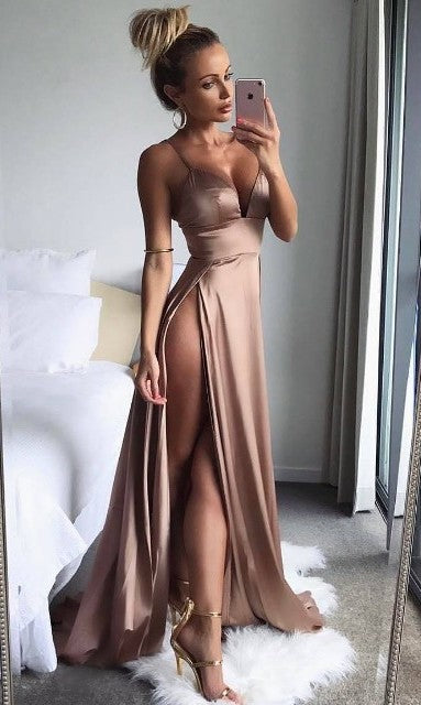A line Spaghetti Straps Slit Coffee Evening Party Dress - daisystyledress