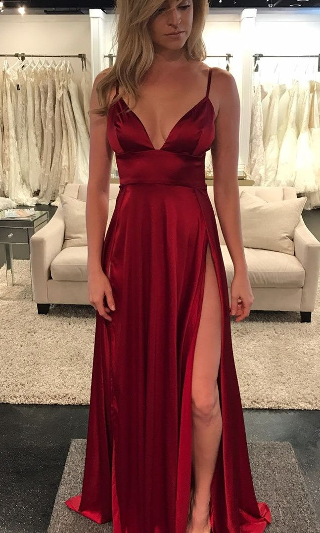 Sexy Spaghetti Straps Wine Red Slit Evening Party Dress - daisystyledress
