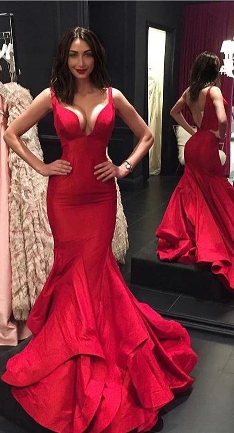 Sexy Mermaid Low V-back Red Evening Dress - daisystyledress