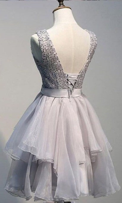 Knee Length Silver Tiered Skirt Homecoming Dress - daisystyledress