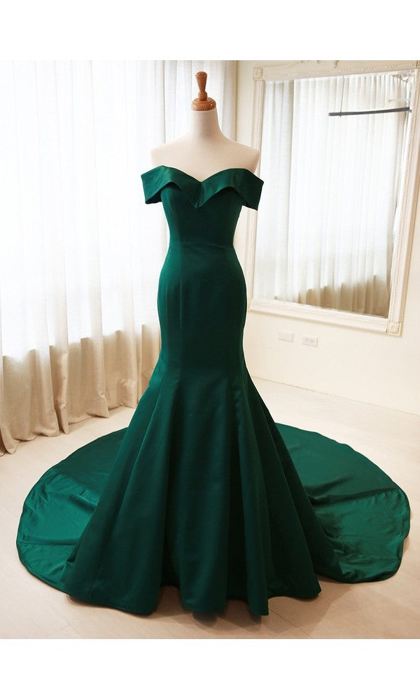 Mermaid Off Shoulder Sleeves Green Evening Dress - daisystyledress