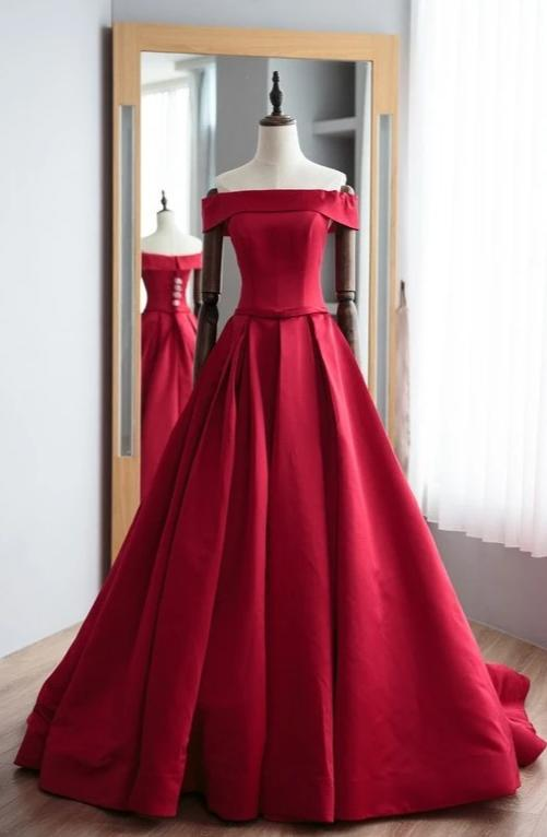 Straight Neckline Wine Red Formal Evening Dress - daisystyledress