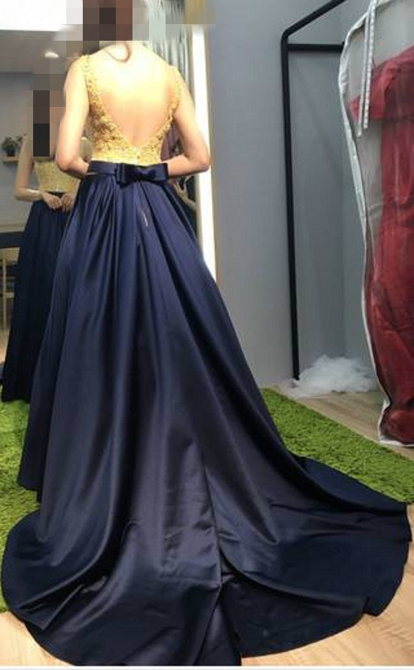 Elegant V-neckline Navy Blue Evening Dress - daisystyledress