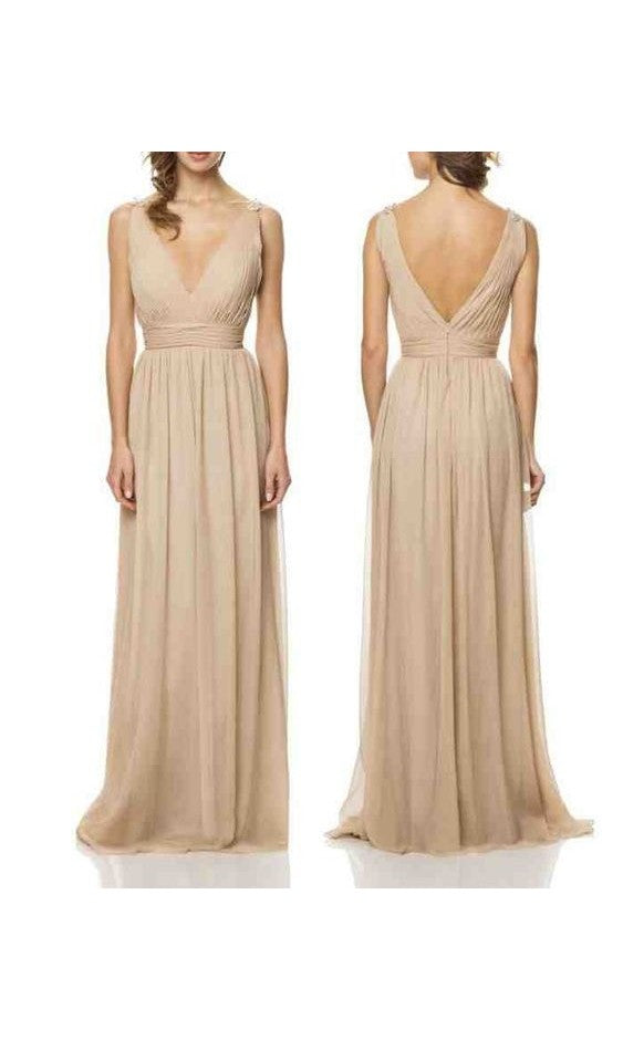 A line V-neckline Champagne Evening Dress - daisystyledress