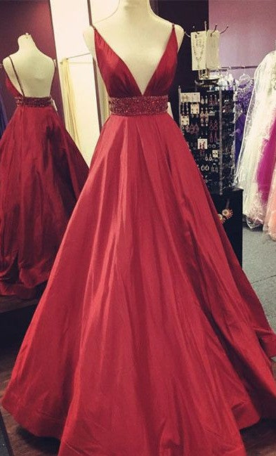 A line Spaghetti Straps Open Back Burgundy Prom Dress - daisystyledress