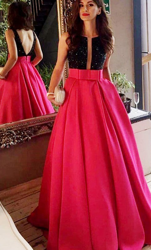A line V-back Beaded Fuchsia Prom Dress - daisystyledress