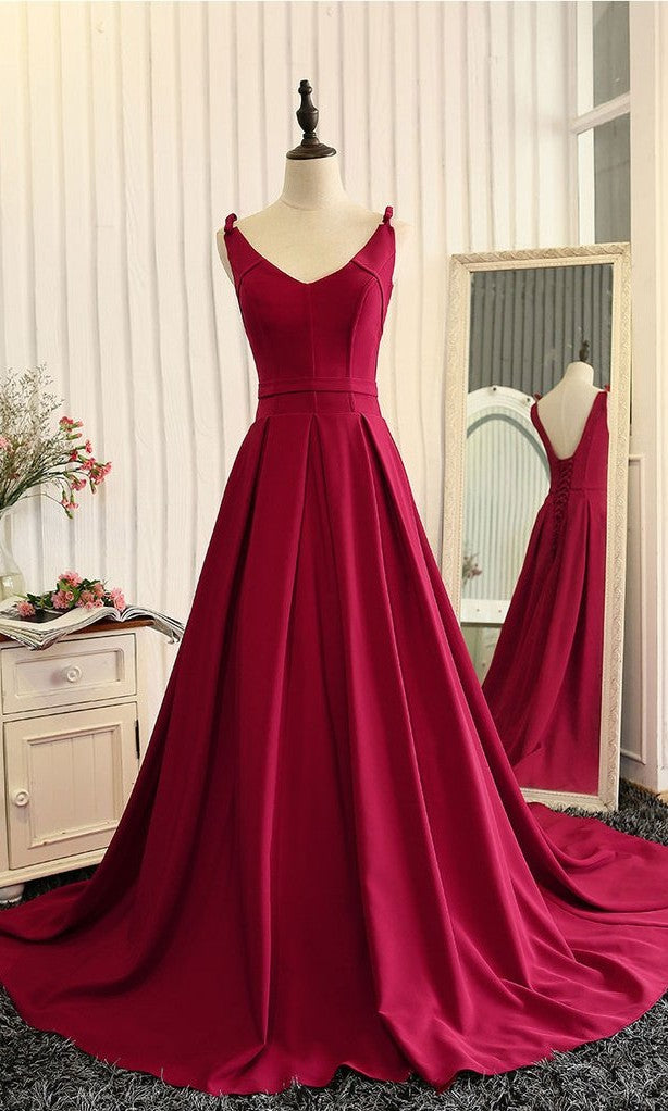 Elegant A line V-neckline Burgundy Evening Party Dress - daisystyledress