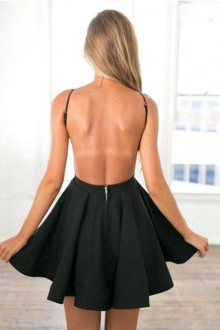Above Knee Length Black Open Back Homecoming Dress - daisystyledress