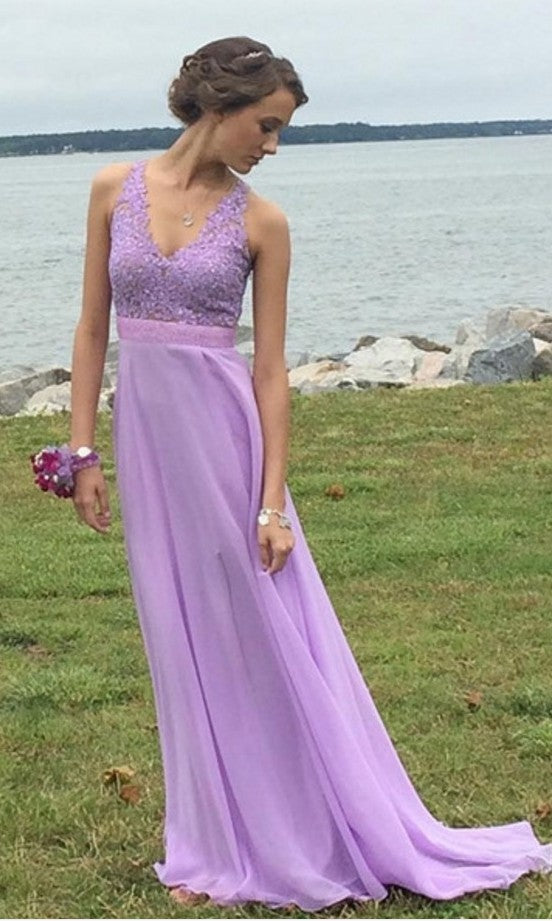 A line Lilac Slit Prom Dress - daisystyledress