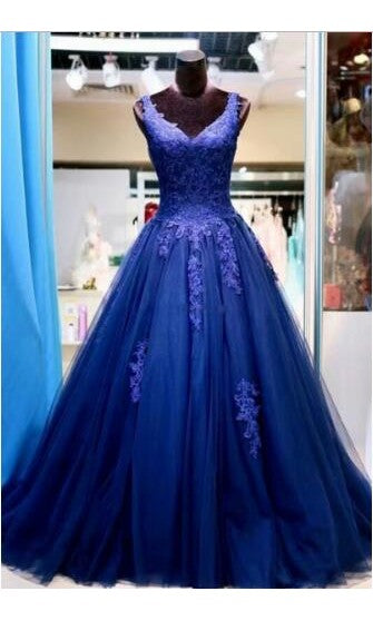 Ball Gown V-neckline Royal Blue Tulle Prom Dress - daisystyledress