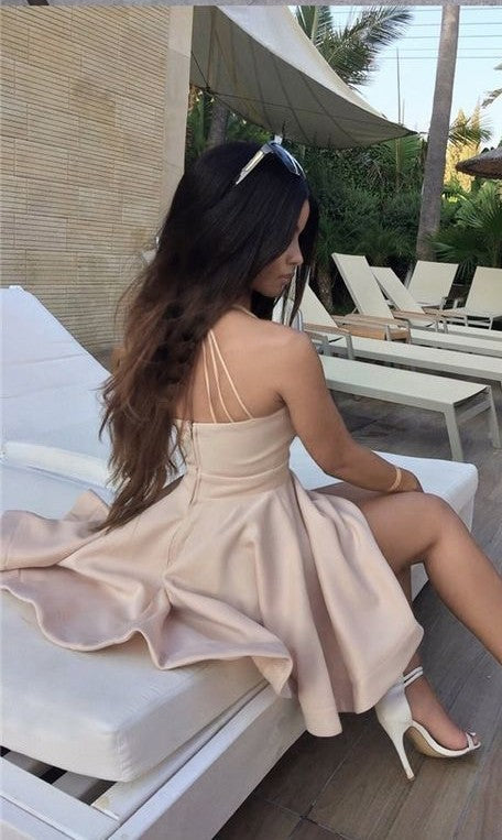 Above Knee Length Sexy Open Back Nude Homecoming Dress - daisystyledress