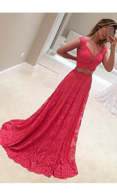 Elegant Two Piece Cap Straps Lace Evening Dress - daisystyledress