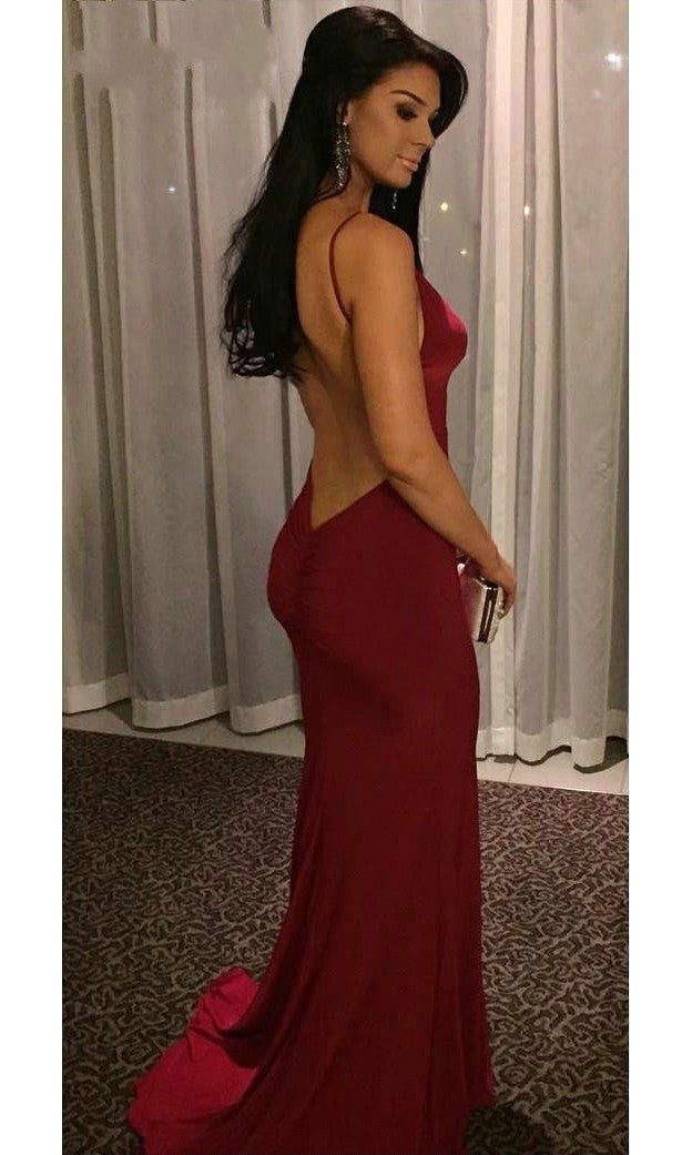 Sexy Open Back Spaghetti Straps Red Evening Dress - daisystyledress