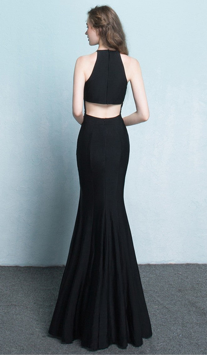 Sheath Slit Black Evening Dress - daisystyledress