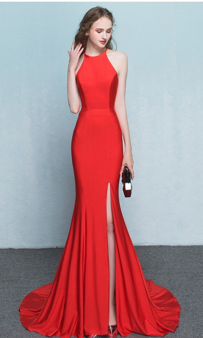 Mermaid Sexy Slit Red Evening Dress - daisystyledress