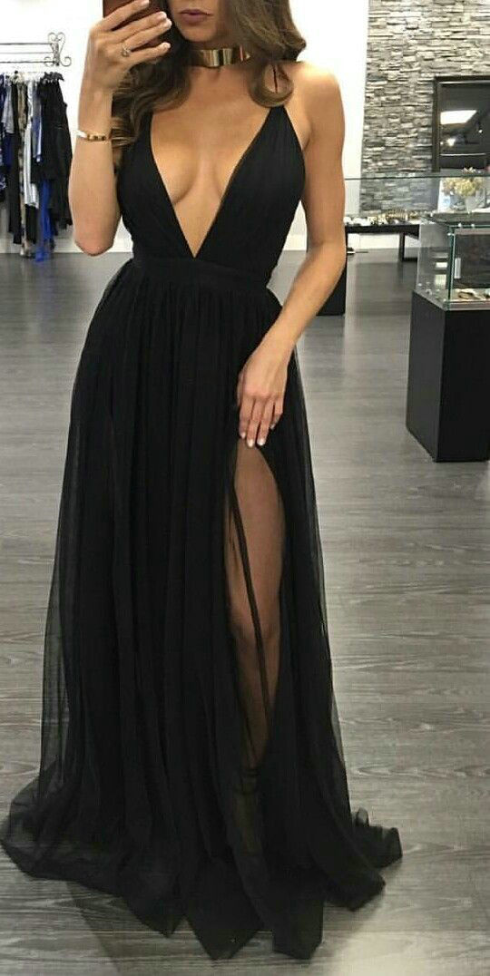 Sexy Open Back Spaghetti Straps Slit Prom Dress - daisystyledress