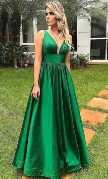 A Line Sexy Open Back V-neckline Prom Dress - daisystyledress