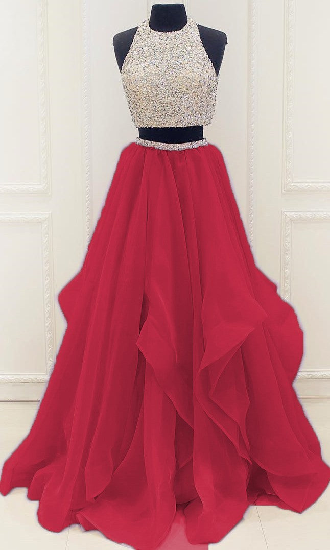 Red Two Pieces Prom Dress