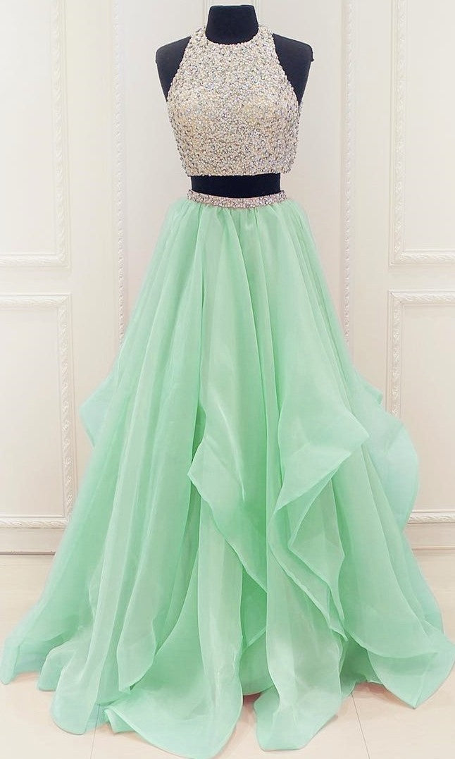 Mint Green Two Piece Graduation Dress