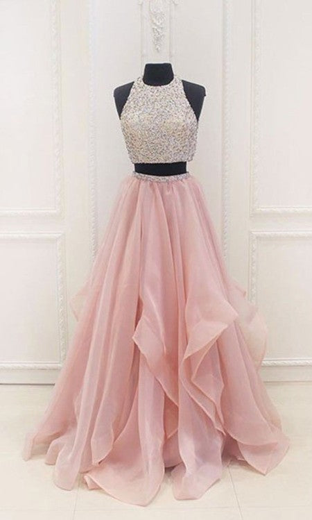 Two Piece Tiered Skirt Prom Dress - daisystyledress