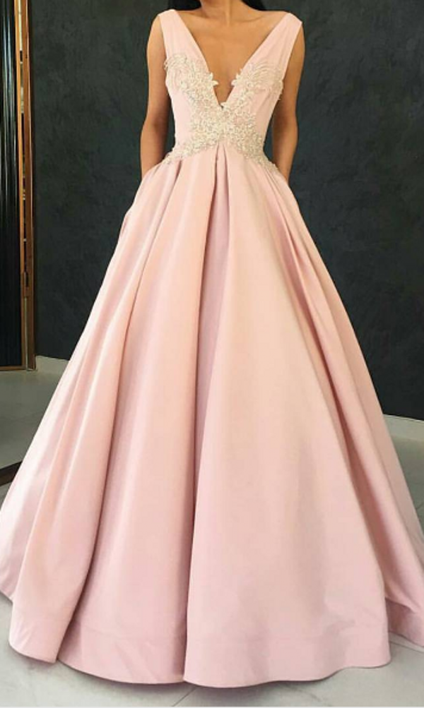 Elegant A line V-neckline Blush Evening Party Dress - daisystyledress