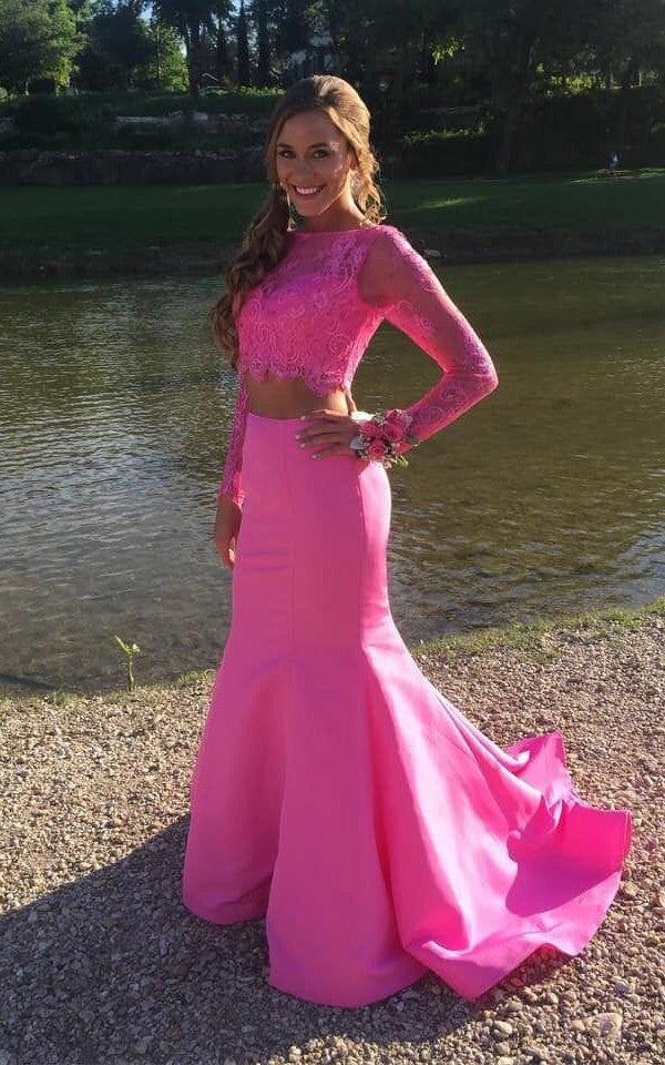 Mermaid Long Sleeve Two Piece Hot Pink Prom Dress - daisystyledress