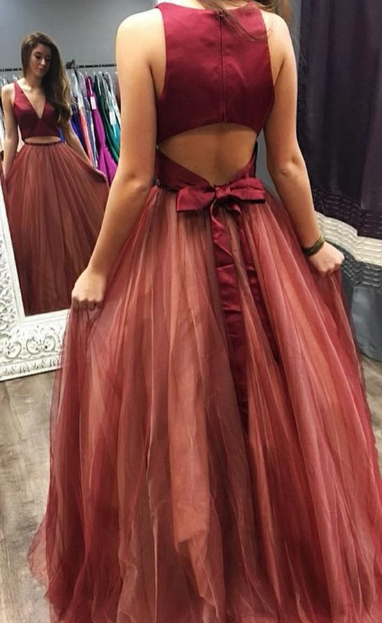 Halter Neckline Burgundy Tulle Prom Dress - daisystyledress