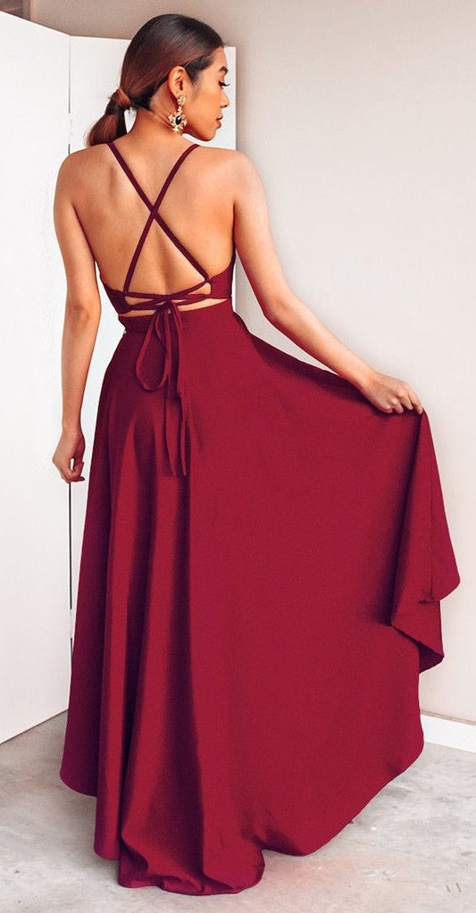Sexy High Low Spaghetti Straps Red Homecoming Dress - daisystyledress