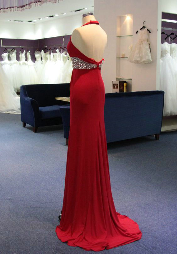 Simple A line Red Slit Evening Dress - daisystyledress